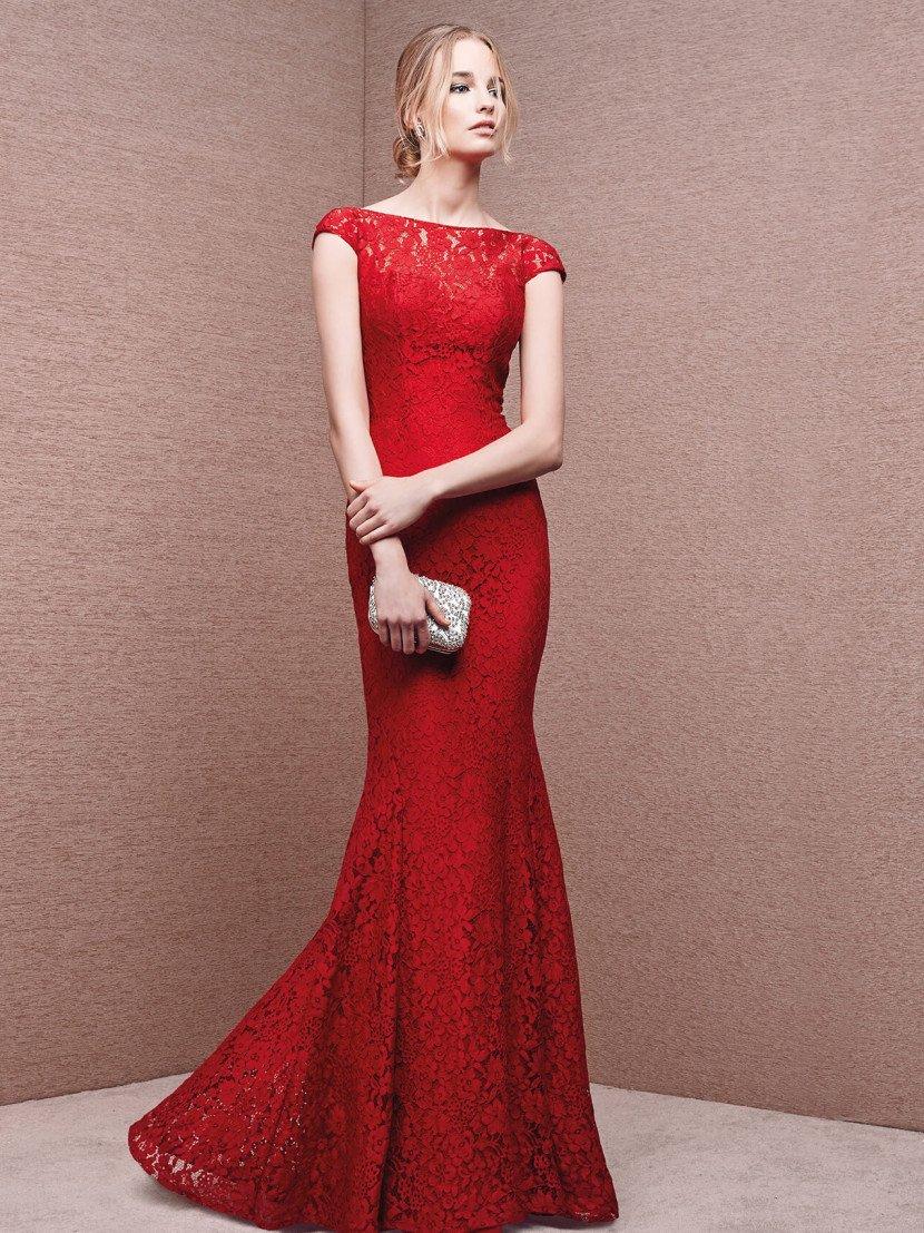 Красное коктейльное платье русалка.