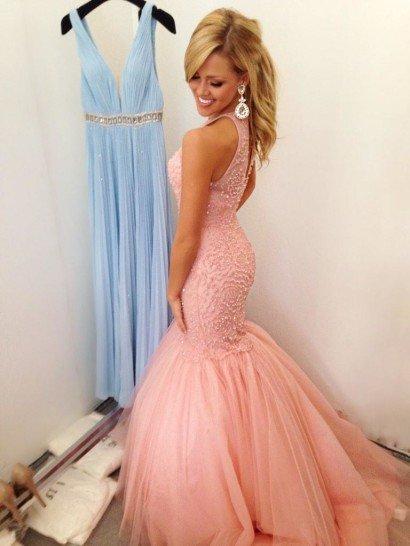 Выпускное розовое платье русалка.