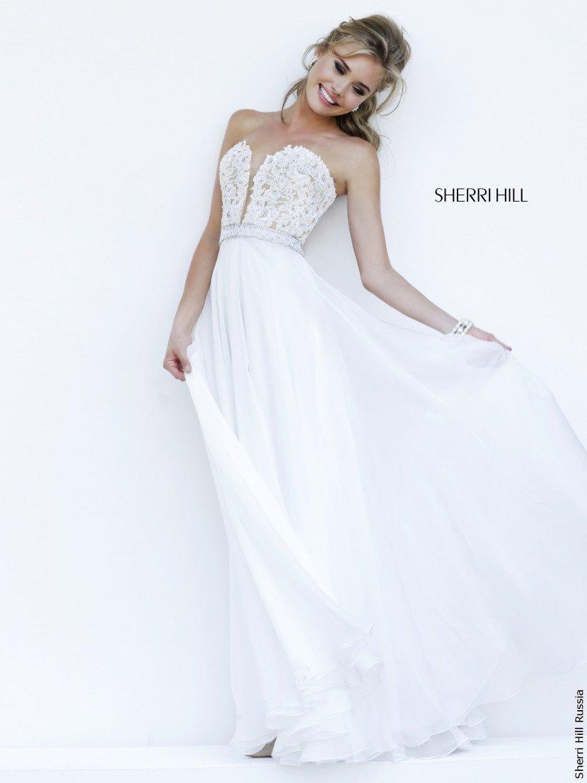 Длинное белое вечернее платье на свадьбу.