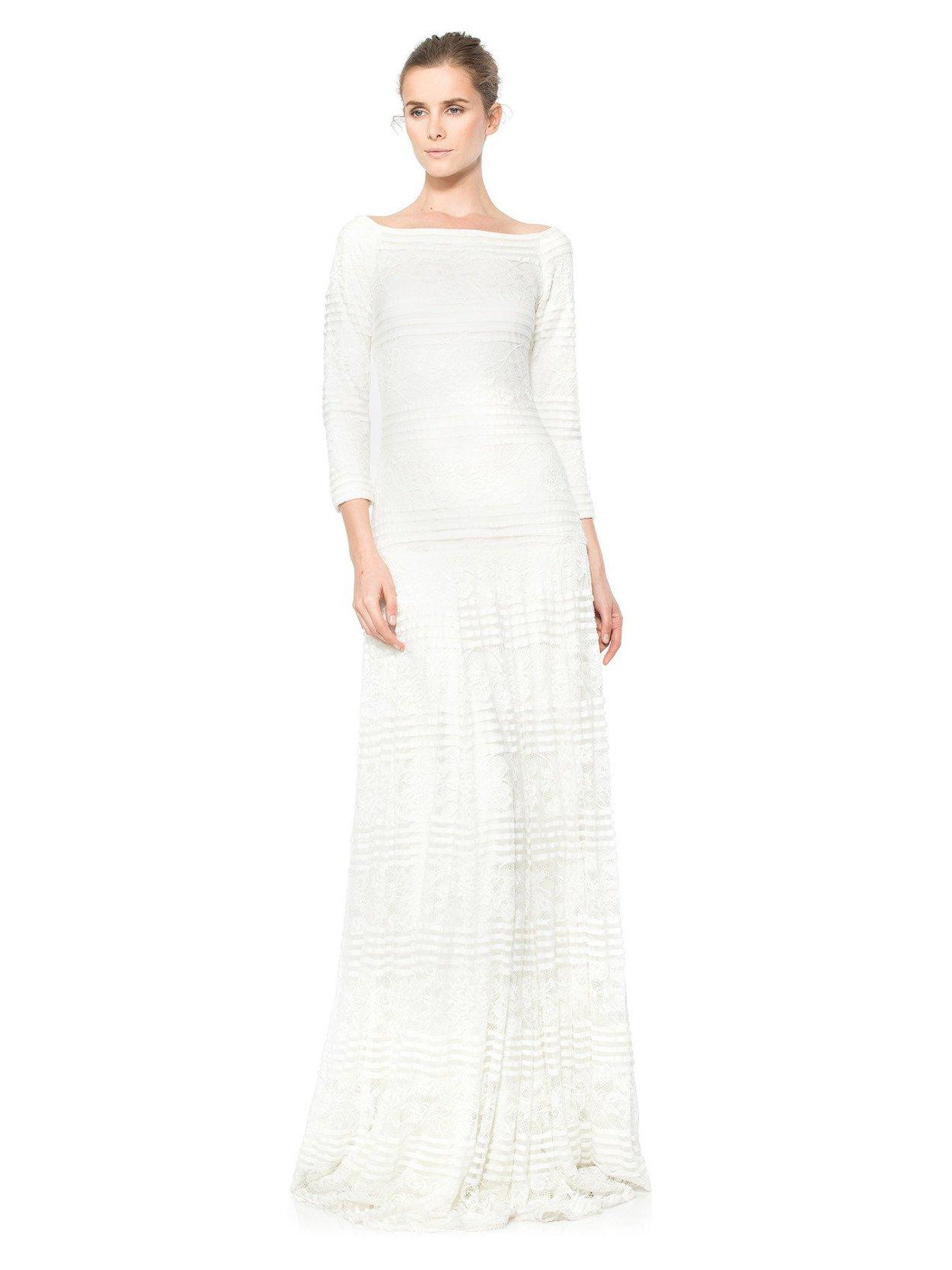 1dcf79bc8ce Белое вечернее платье с рукавами на свадьбу Tadashi Shoji AOM2124L ...