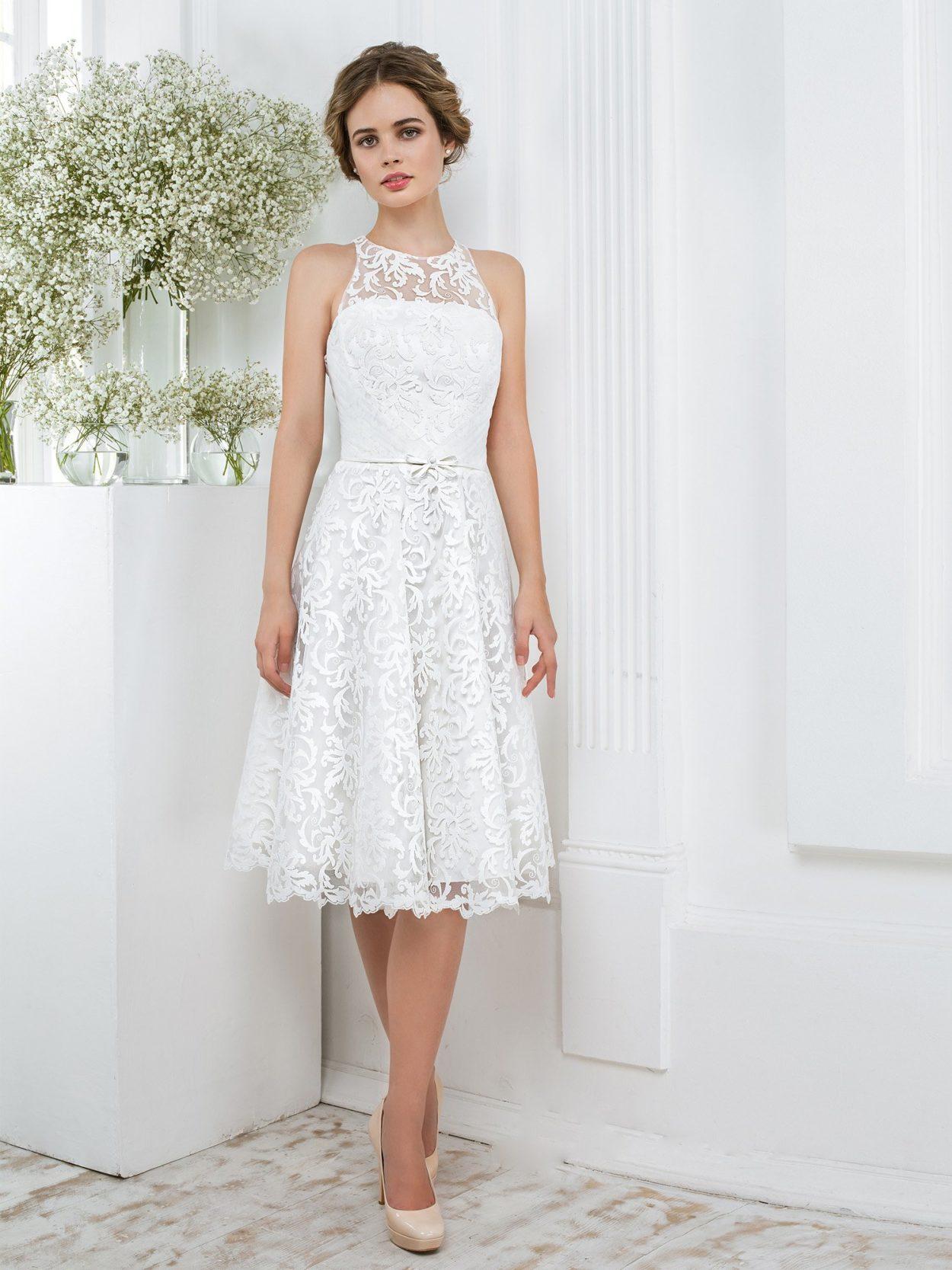 Белое короткое свадебное платье недорого