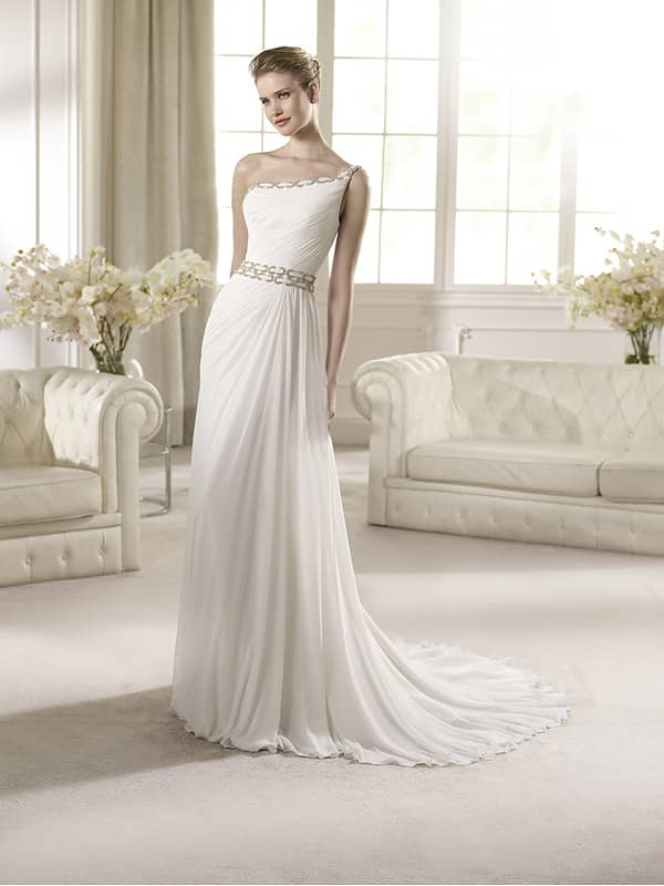 Греческое пышное свадебное платье в