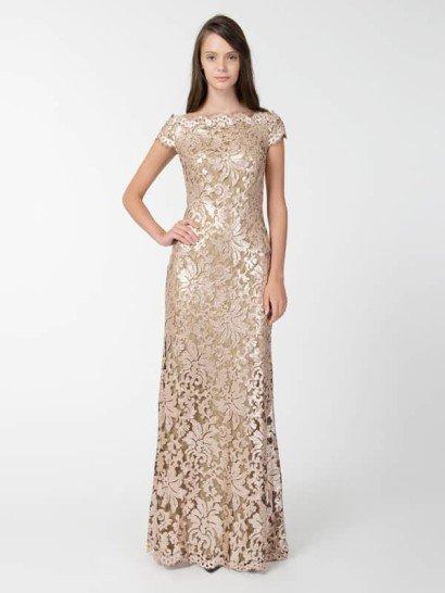 Расшитое блёстками кружевное коктейльное платье.