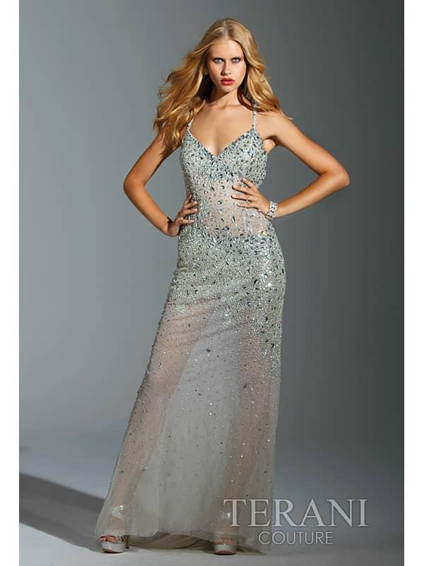 Экстравагантное прозрачное вечернее платье на бретелях «спагетти».