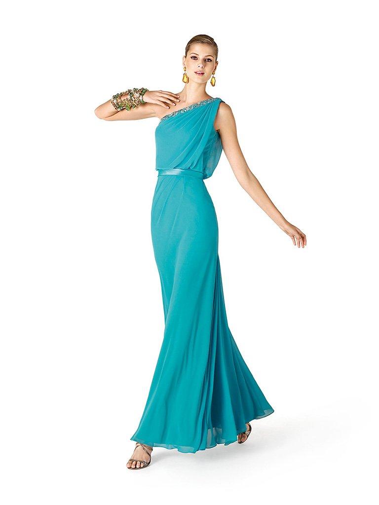 Красивое длинное бирюзовое вечернее платье в греческом стиле.