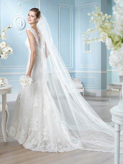Роскошное кружевное свадебное платье русалка.