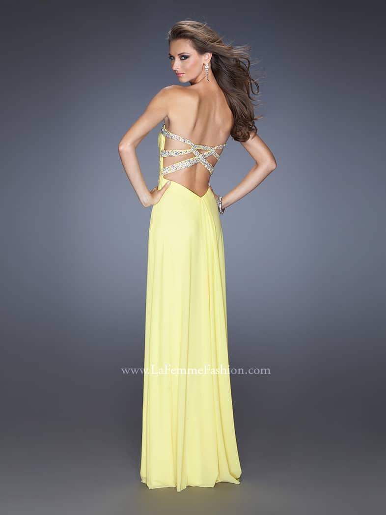 длинное жёлтое вечернее платье для выпускного вечера.