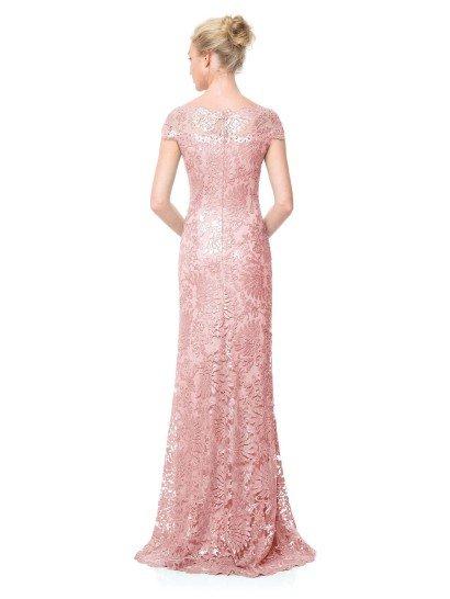 Розовое облегающее вечернее платья с блестящим кружевом.