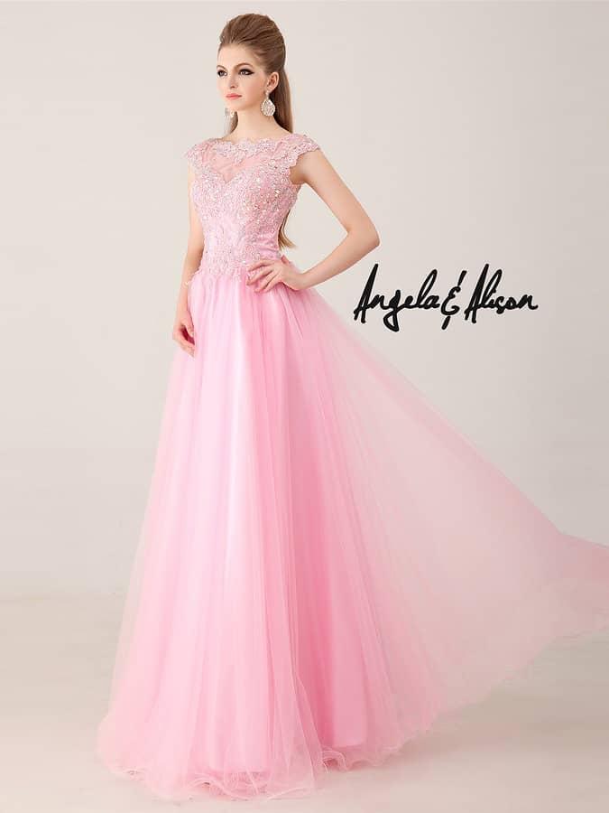 Нежное розовое  бальное вечернее платье.