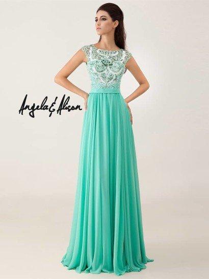 Элегантное зеленое вечернее платье на выпускной.