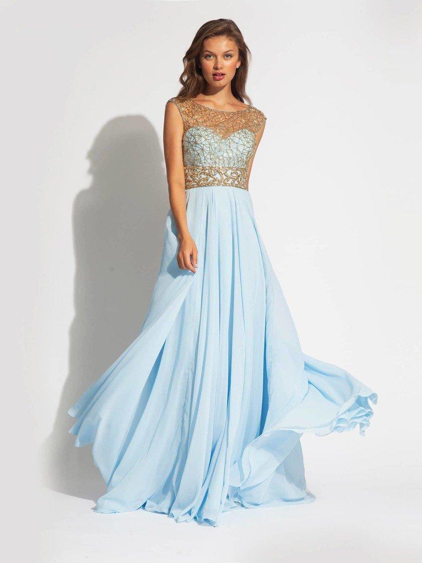 Выпускное платье с полупрозрачным декольте.