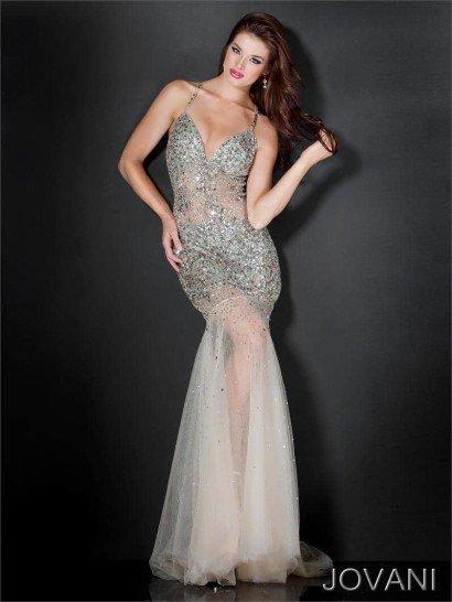 Эффектное открытое длинное вечернее платье силуэта русалка из прозрачной органзы.