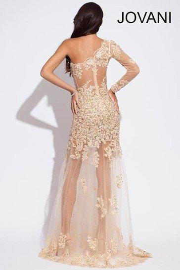 Длинное прозрачное вечернее платье.