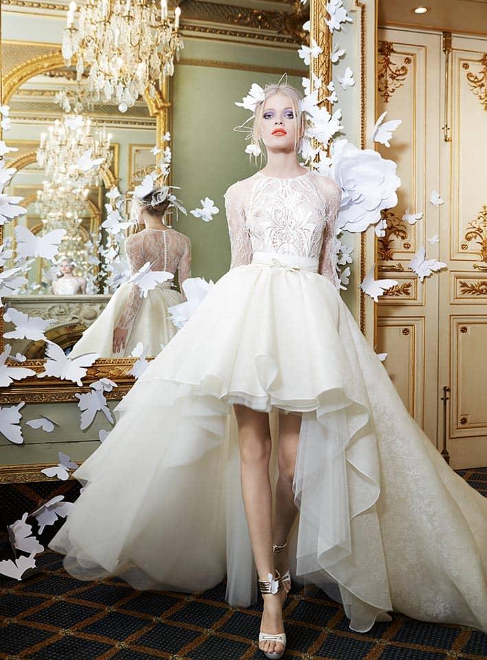 Короткие свадебные платья со шлейфом