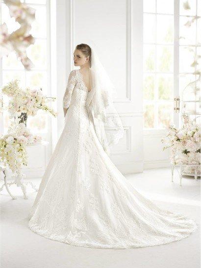 Свадебное недорогое платье с рукавами GLACHEL Avenue Diagonal.