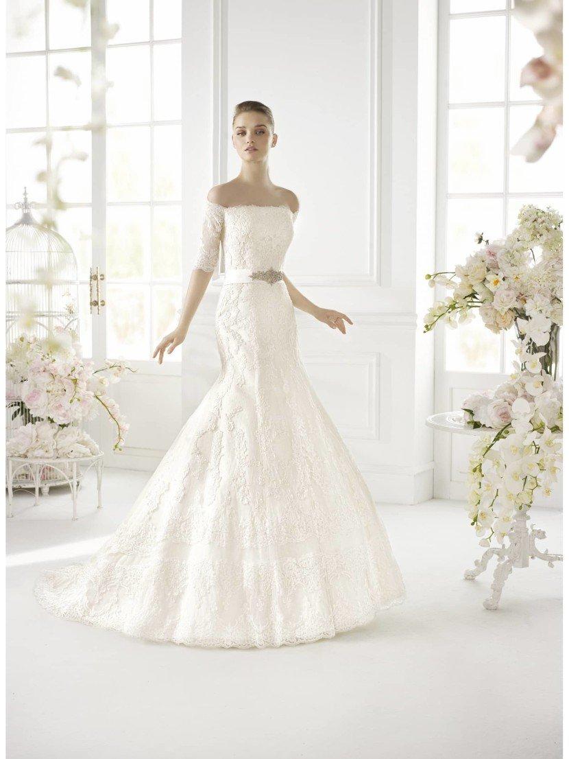 Открытое свадебное платье GLORED силуэта русалка от Avenue Diagonal 2015 в салоне Виктория! ✆ +7 495 6276242
