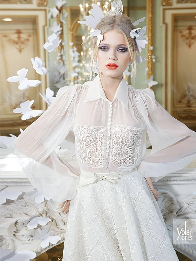Закрытое свадебное платье 2015.