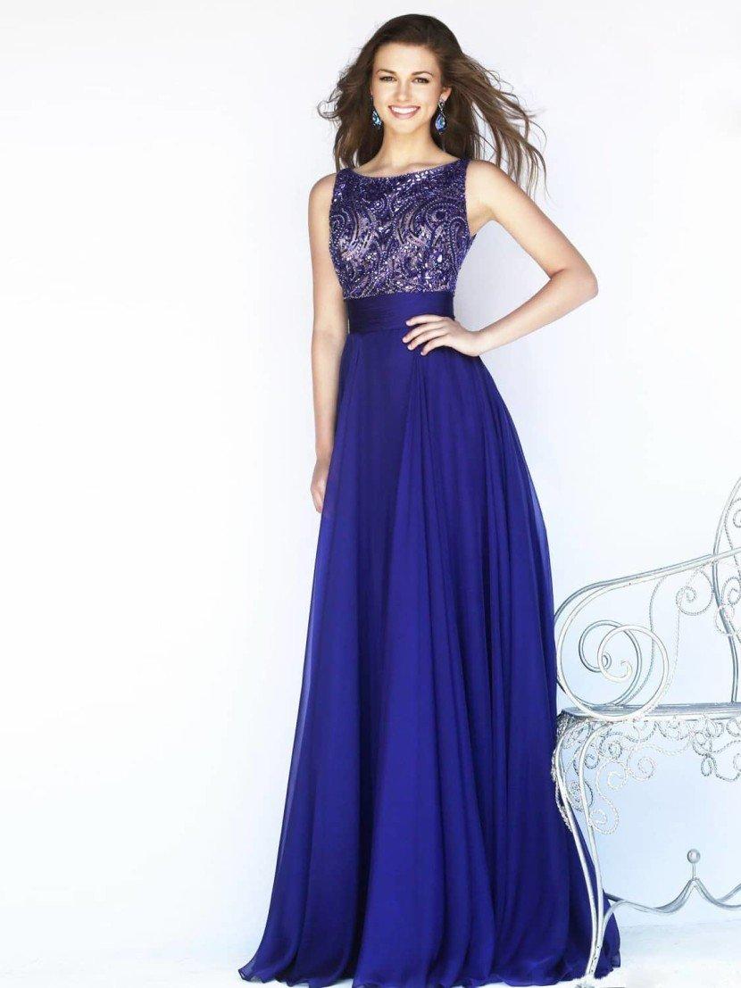 Синее вечернее платье.