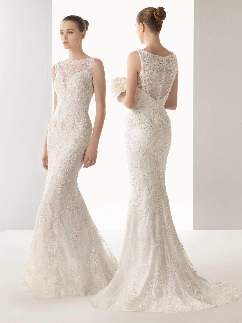 Закрытое свадебное платье русалка.