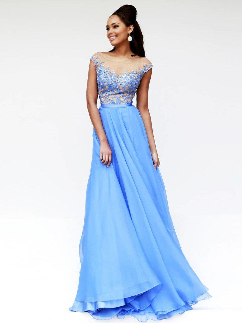 Голубое выпускное платье 2015.