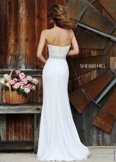 Белое вечернее свадебное платье.