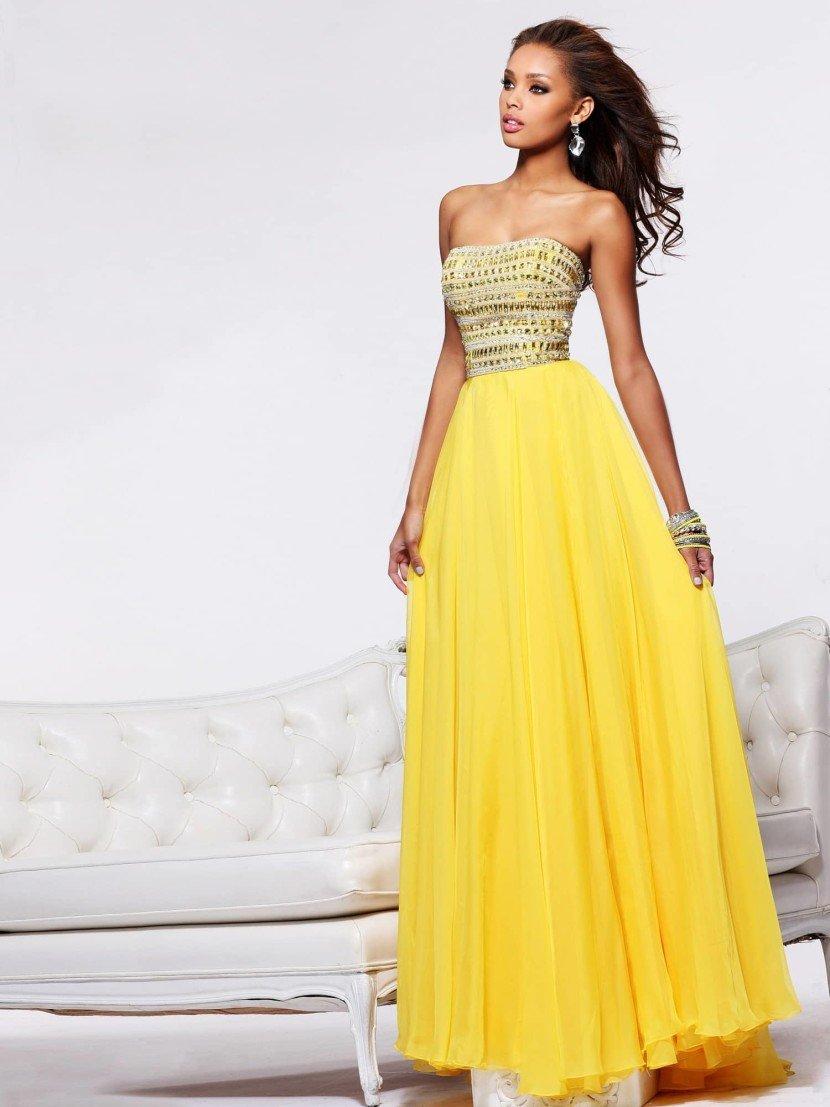 Желтое выпускное платье в пол.
