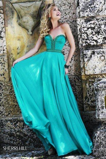 Зеленое выпускное платье в пол.