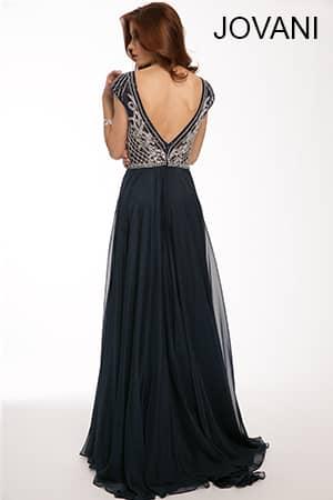 Расшитое темно-синее вечернее платье 2015.