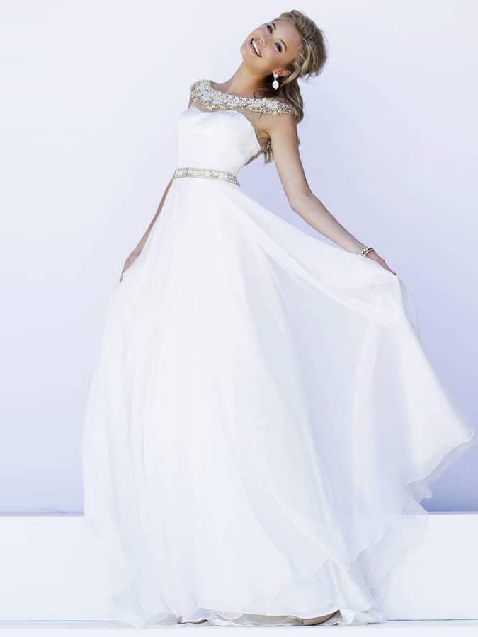 Белое выпускное платье в пол.