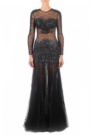 Черное блестящее вечернее платье в пол