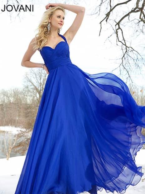 Синее летнее вечернее платье 2015.