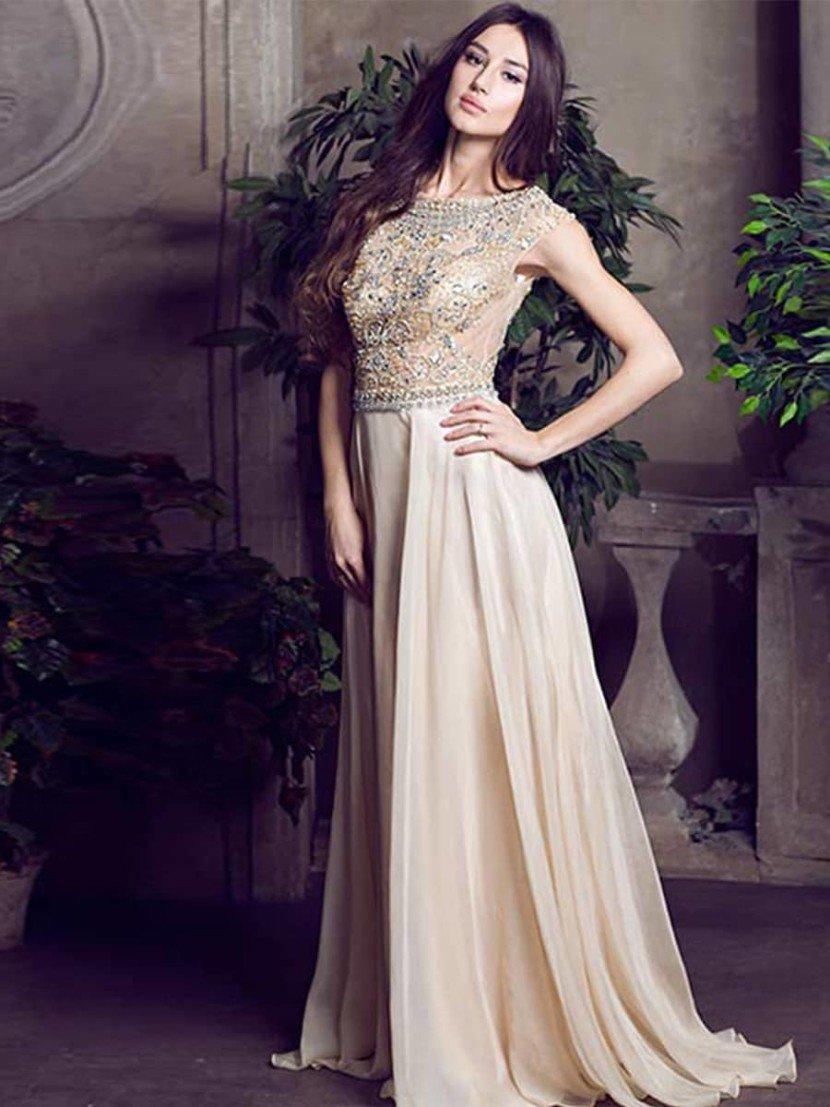 Бежевое вечернее платье на свадьбу.