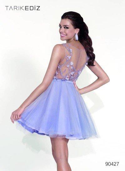 Короткое лиловое выпускное платье.
