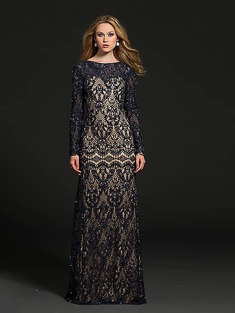 Темно-синее вязанное вечернее платье.