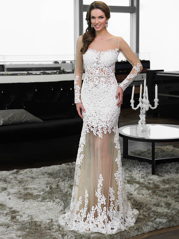 Белое длинное вечернее платья