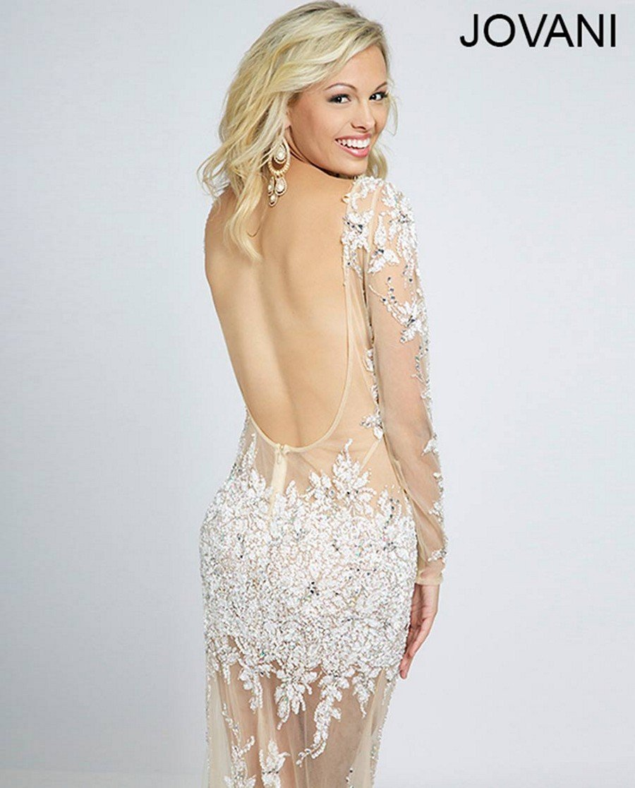 23c256e3deb Jovani белое платье с рукавами - Модадром