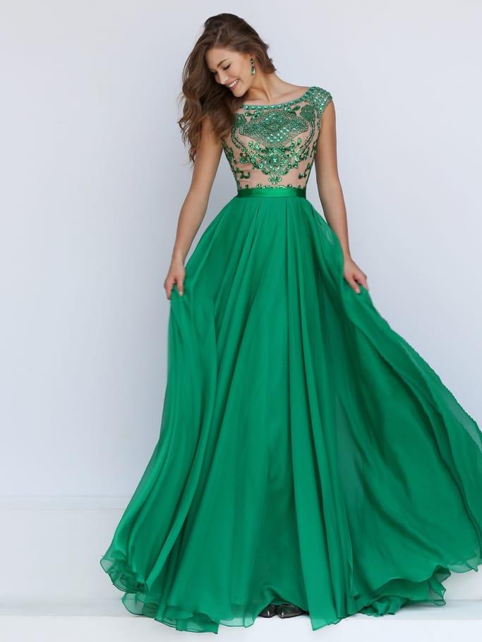Зеленое платье с кружевом на выпускной.