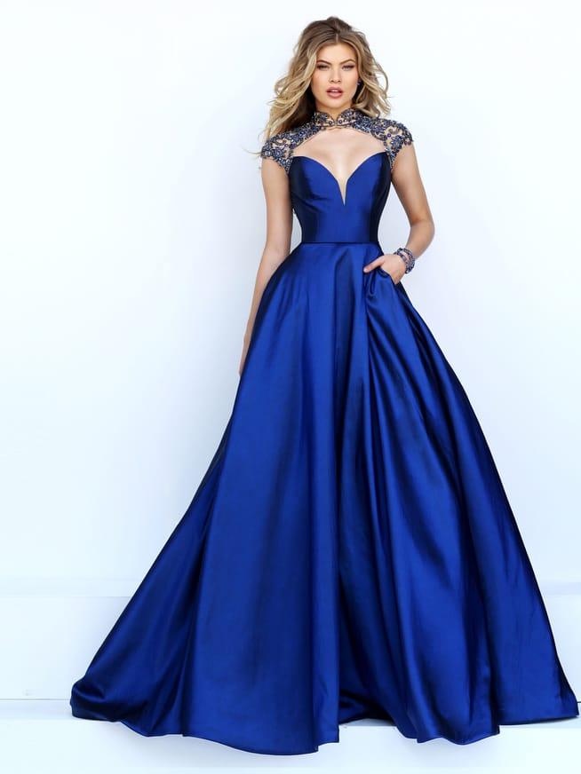 Красивое синее платье на выпускной.