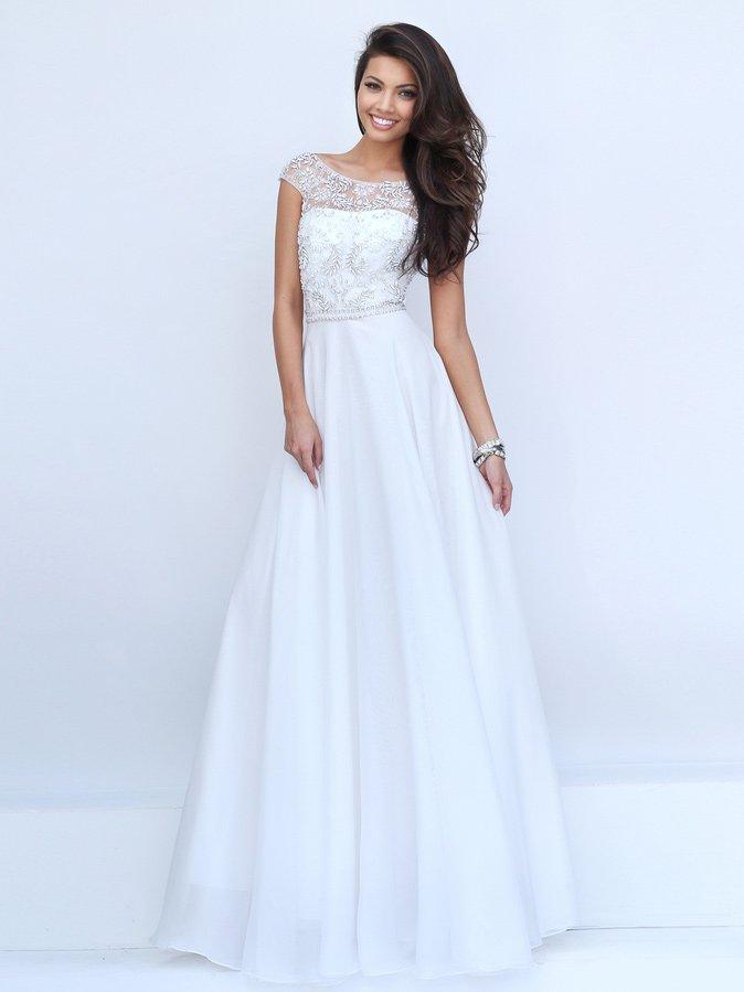 Белое платье на выпускной в пол.