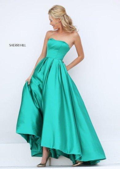 Зеленое атласное платье на выпускной.
