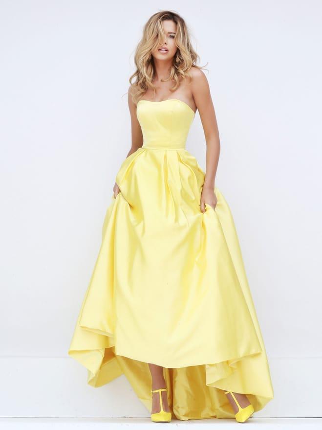 Желтое платье на выпускной.