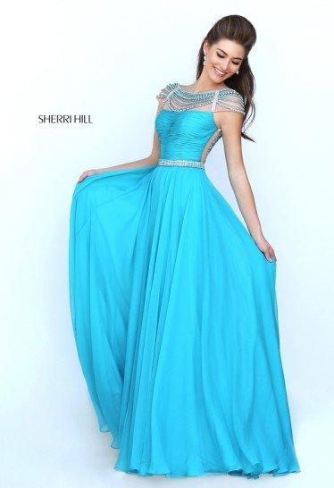 Синее платье на выпускной.