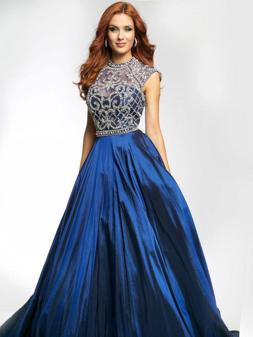 Темно-синее вечернее платье расшитое бисером.