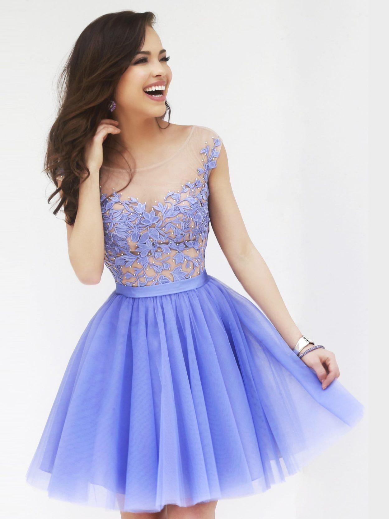 a8740f6bf73 Короткое фиолетовое выпускное платье Sherri Hill 11171 Periwinkle ...