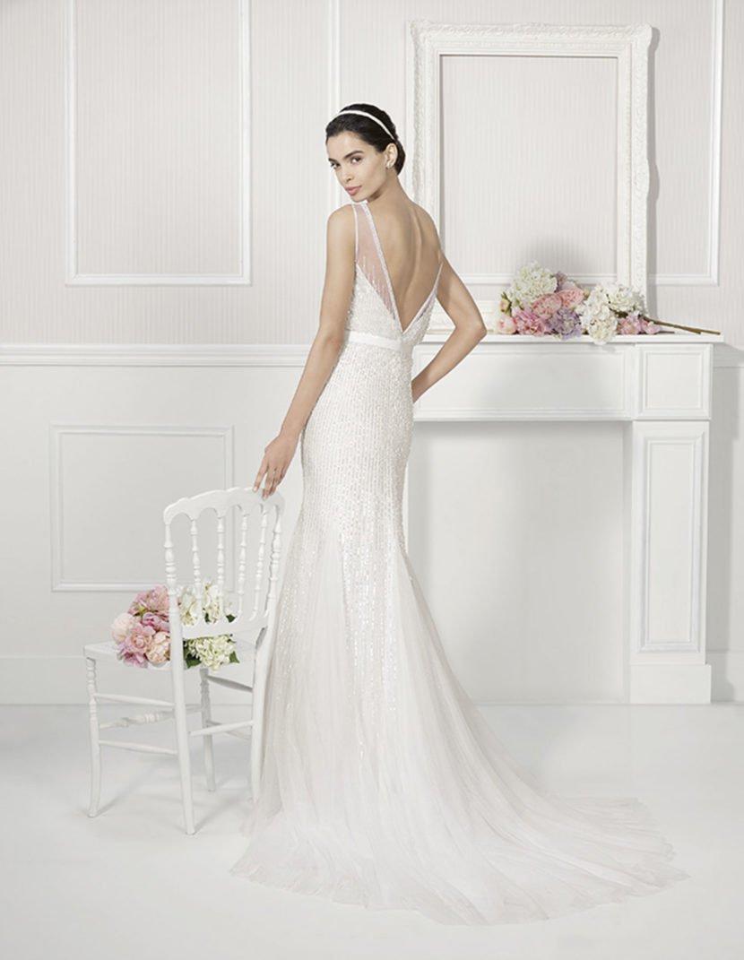Романтичное свадебное платье «русалка» с пайетками.