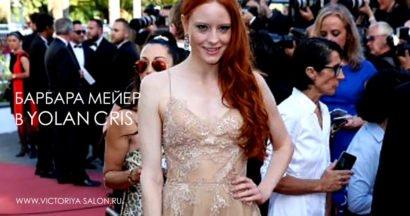 Barbara Meier in Yolan Cris at Cannes Red Carpet