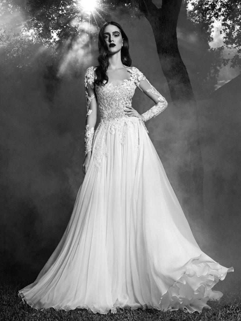 Нежное свадебное платье с кружевным верхом и шифоновой