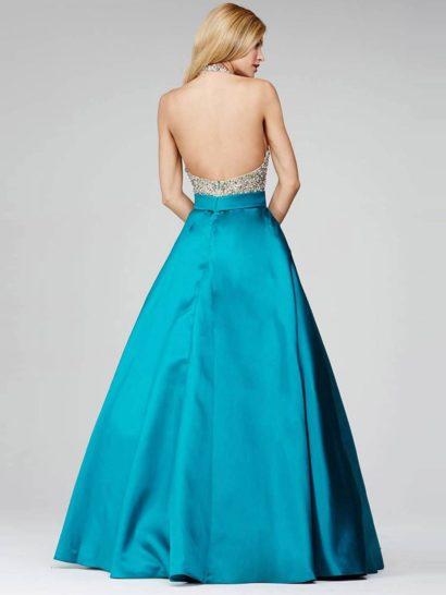 Вечернее платье со сверкающим верхом с открытой спиной и атласной юбкой А-силуэта.