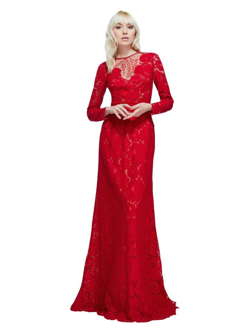 Алое вечернее платье с длинным рукавом и эффектным кружевным декором.