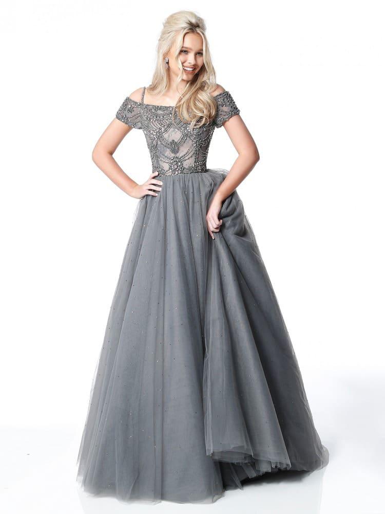 Серое вечернее платье пышного силуэта с вышивкой по корсету.